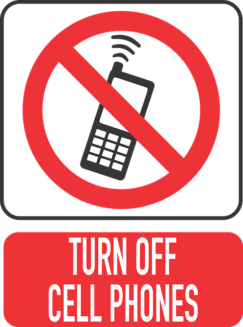 Sign directing cell phones to be turned off