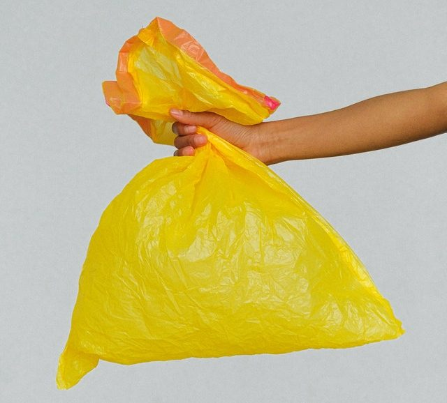 A plastic bag, potentially with something inside it
