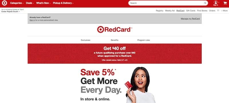 Target RedCard membership page