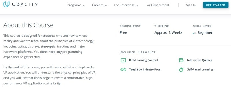 Landing page for the 'Introduction to Virtual Reality' course on Udacity