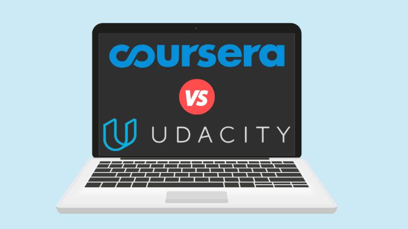 Laptop displaying 'Udacity vs. Coursera'