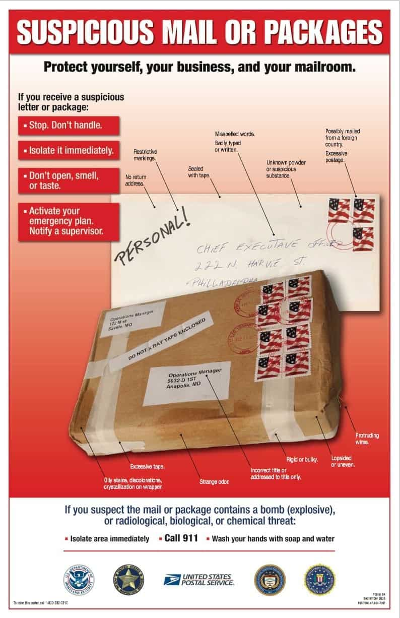 USPIS suspicious mail or packages poster