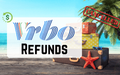 Vrbo refunds on a beach background with suitcases