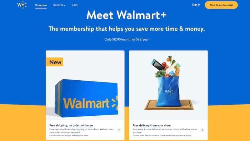 Walmart+ membership details page