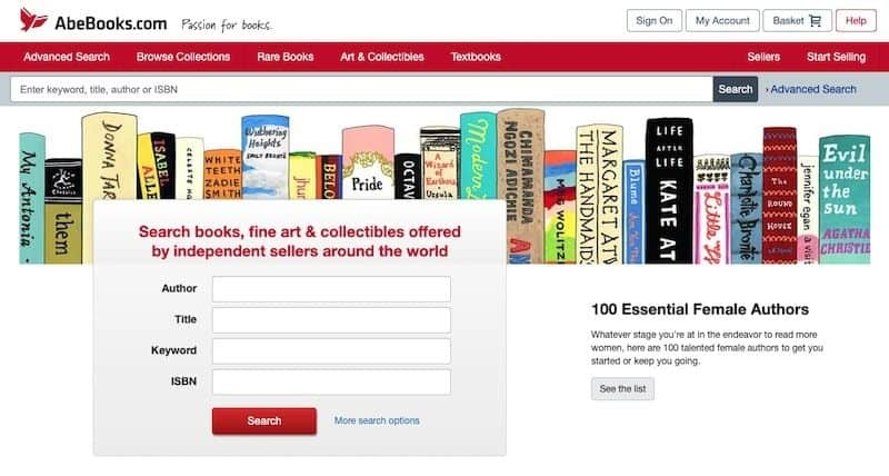 AbeBooks homepage
