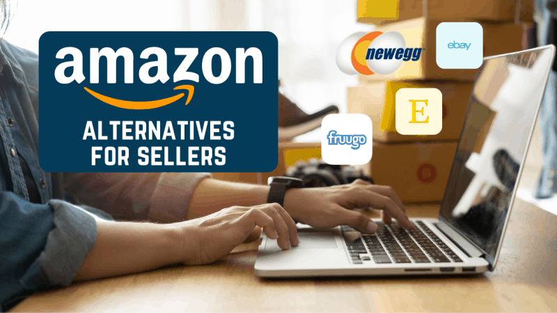 Man working on a laptop with Amazon alternatives for sellers text and marketplace logos