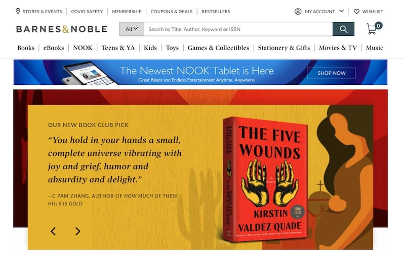 Barnes and Noble homepage