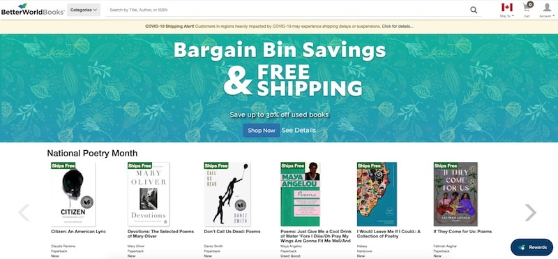 Better World Books homepage