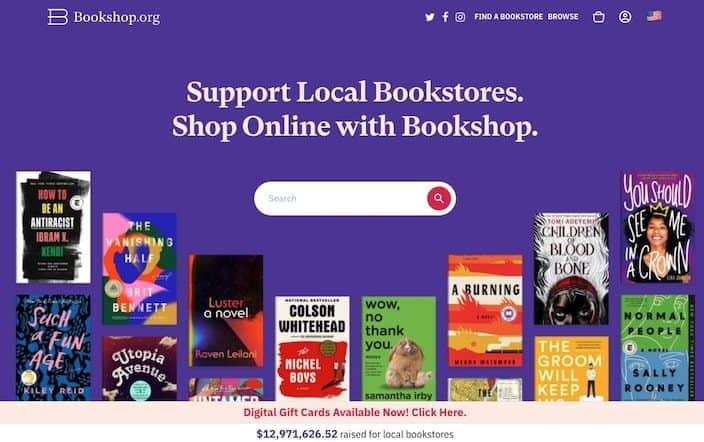 Bookshop homepage