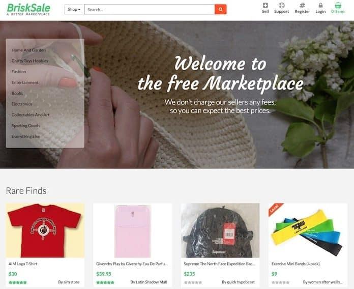 Brisksale homepage