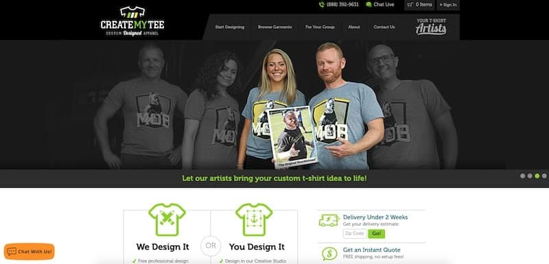 CreateMyTee homepage