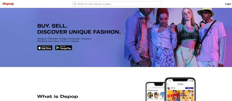 Depop homepage