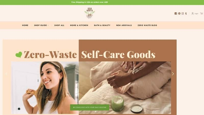 Eco Roots homepage