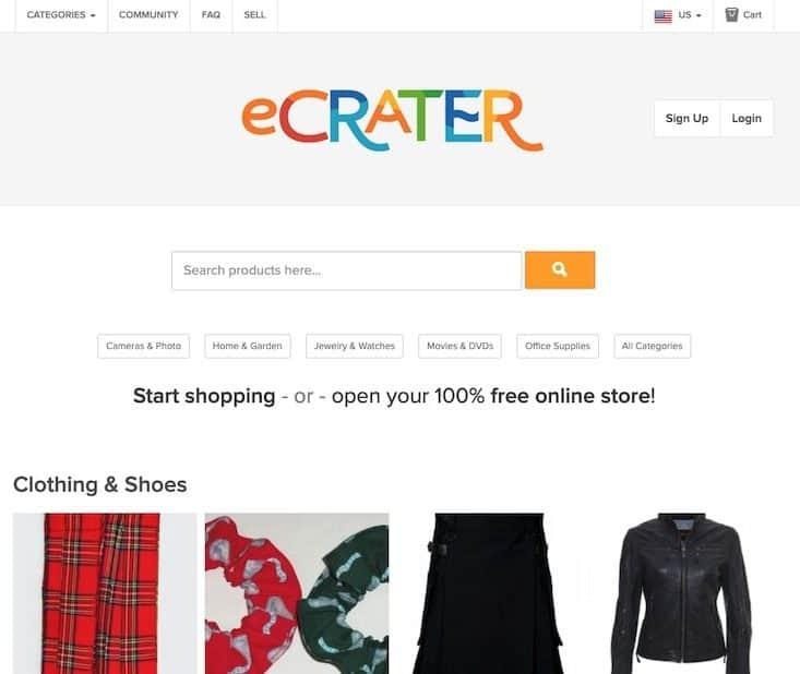 eCrater homepage