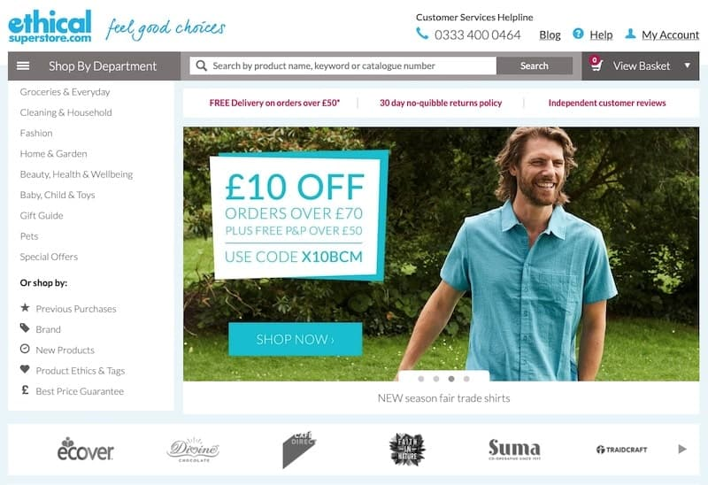 Ethical Superstore homepage
