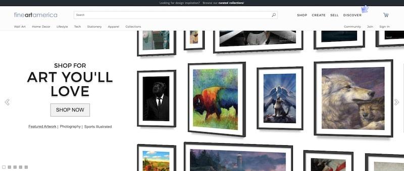 Fine Art America homepage