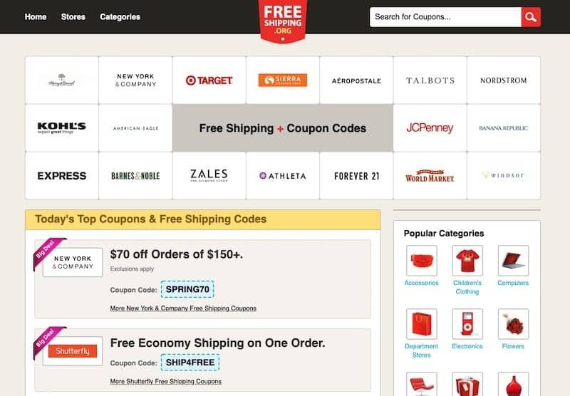 Free Shipping homepage