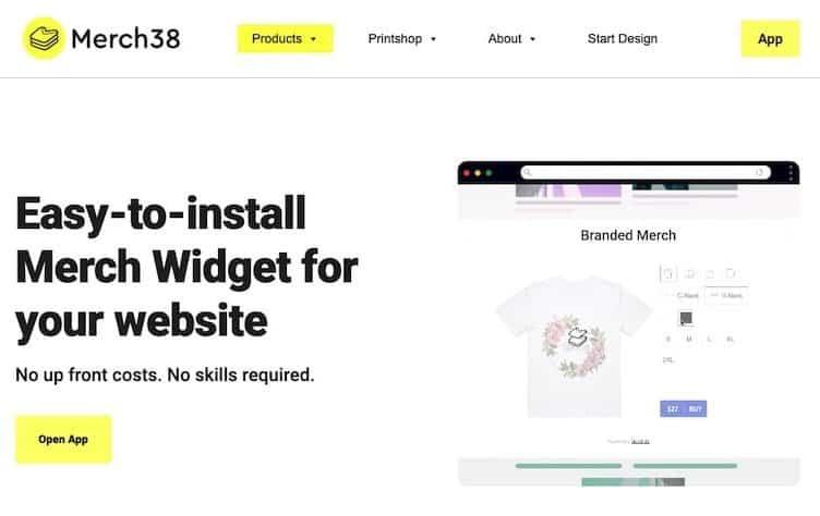 Merch38 homepage