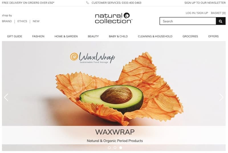 Natural Collection homepage
