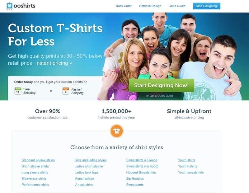 ooShirts homepage