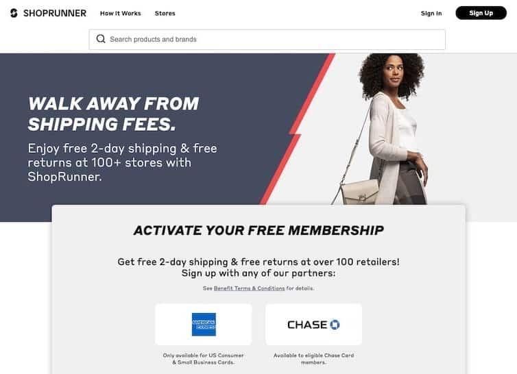 ShopRunner homepage
