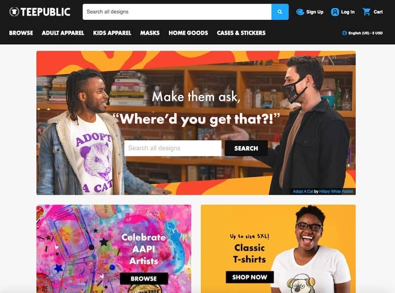 TeePublic homepage