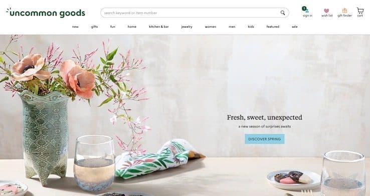 Uncommon Goods homepage