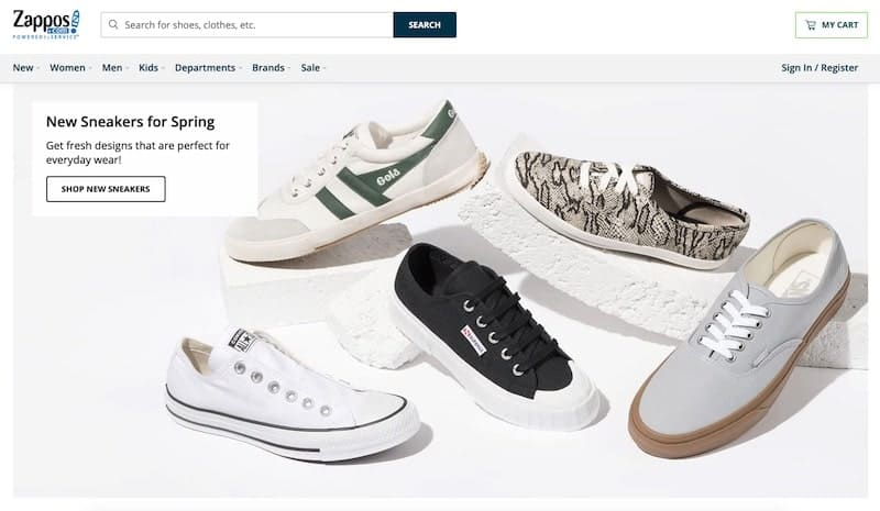 Zappos homepage